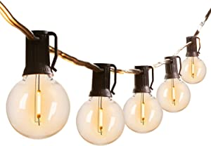 G40 Outdoor String Lights LED Patio Lights 25FT with 27 Shatterproof Bulbs(2 Spare), Weatherproof Commercial Hanging Lights for Backyard Bistro Pergola Party Decor, E12 Socket Base, 2200K, Black Wire