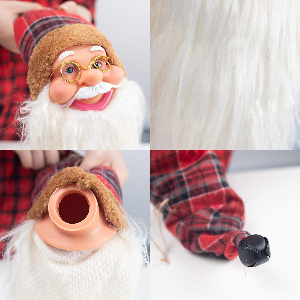 Christmas Tree Topper, Christmas Wine Bottle Cap Soft Cloth Decor Hanging Santa Head Winter Table Ornament Creative Christmas Decorations