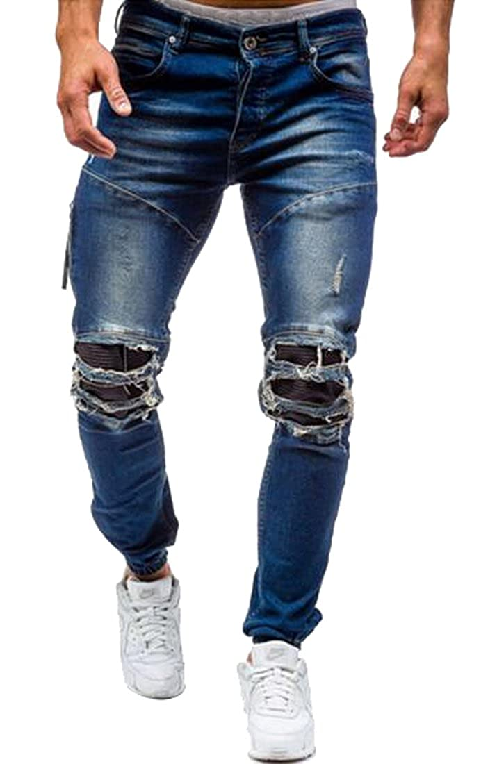 Fensajomon Mens Casual Low Rise Ripped Destroyed Washed Slim Fit Jeans Denim Pants