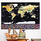 "Office Products : Scratch Off Map of The World Poster - 32"" x 23"" Travel Map Poster with US States and Country Flags - Adventure Never Ends! - Scratchable Map Tracker for Wall, Detailed Cartography, Free Scratcher"