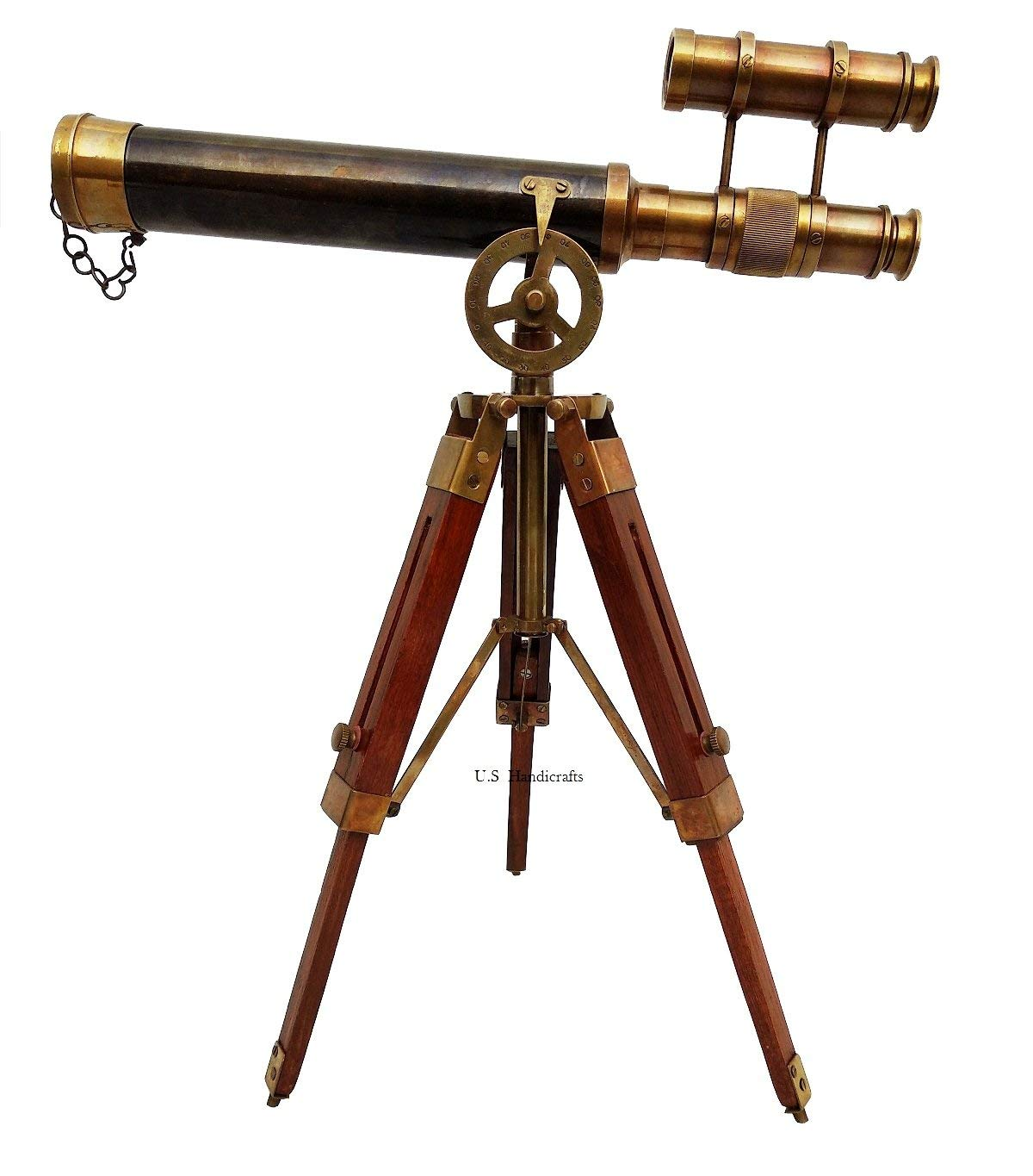 Double Barel Victorian London (1915) 14'' Brass Telescope on Tripode Stand Antique Home Decor Table Top.