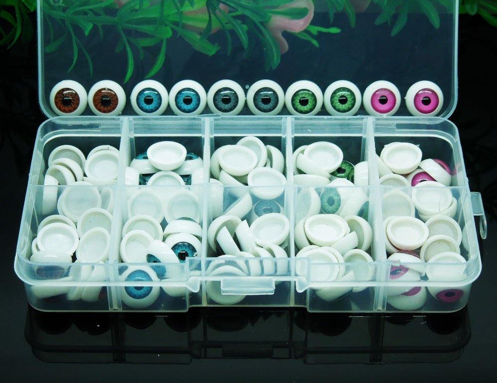 100pcs/box 12mm Doll Eyeballs Half Round Acrylic Eyes for DIY Doll Bear Crafts BTH 4336857031