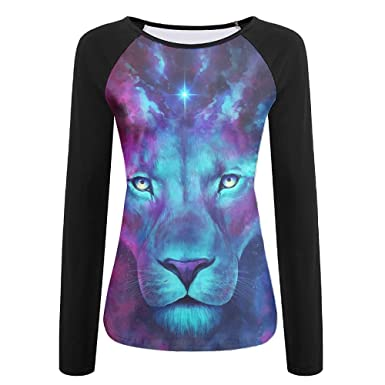 d5df656154be Women's Funny Colorful Lion Feature Raglan Long Sleeve Jersey T Shirt