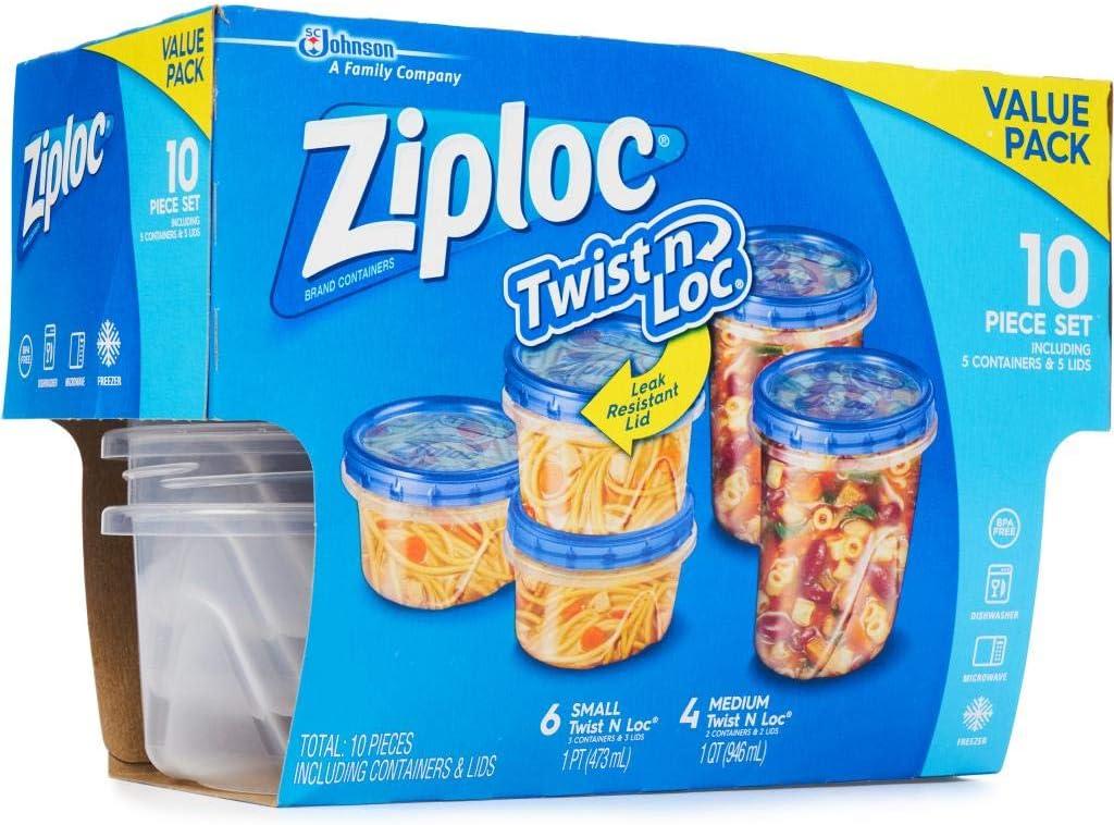 Ziploc Twist n Loc VALUE PACK 10 Piece Set
