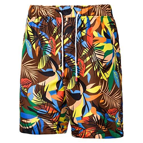 Mbtaua Men Pants Men's Printed Swimming Trunks with Pockets Slim Work Beach Trouser Board Shorts Swimwear Brown ()