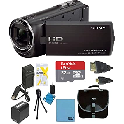 Sony HDR-CX220/B HDRCX220B CX220 HDR-CX220 B High Definition Handycam Camcorder with 2.7-Inch LCD (Black) Ultimate Bundle with 32GB SD Card, High Capacity Spare Battery, Rapid AC/DC Charger, Deluxe Ca at amazon