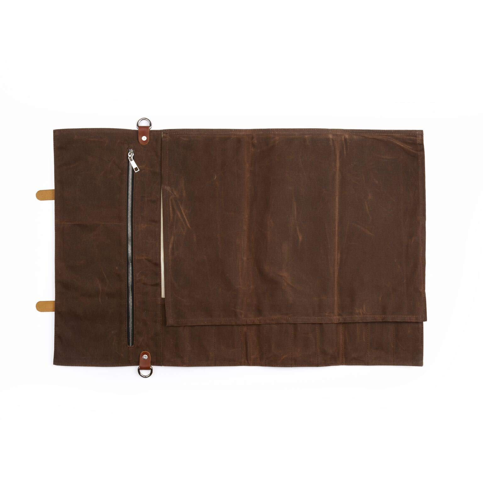 Chef Knife Roll Bag - Handmade Waxed Canvas and Leather Knife Bag Stores 10 Knives + Zipper Pocket and Shoulder Strap (Dark Brown) by Becken Leather Co. (Image #3)