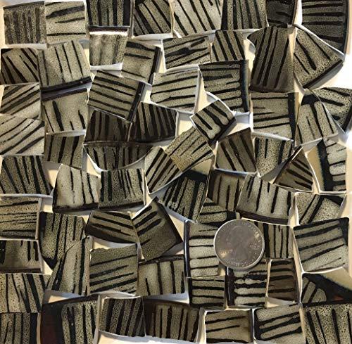 Mosaic Art & Craft Supply ~ Black & Tan Striped Tiles ()