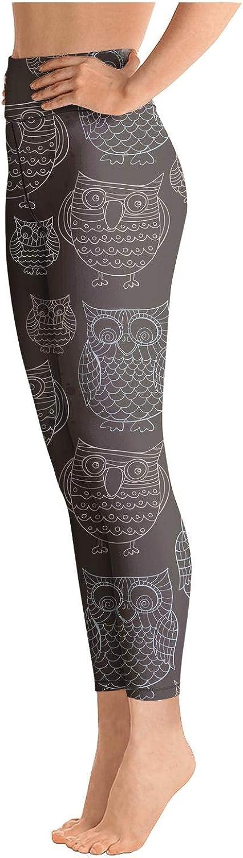 Womens Yoga Pants Black Doodle Owls Light Long Yoga Pants Yoga Leggings with Pockets