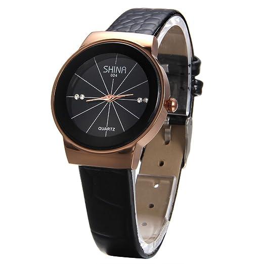 Jewelrywe Reloj Mujer de Números Clásico Rhinestone Banda Wrist Watches para Parejas Amantes Marrón: Amazon.es: Relojes