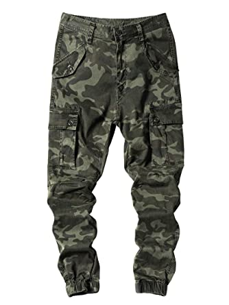 san francisco first look wide varieties Genzn Men's Camo Print Joggers Pants with Cargo Pockets ...
