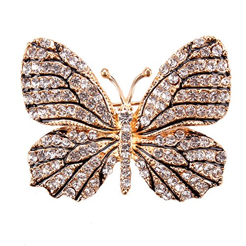 Dress Brooch Butterfly (USIX Pack of 3 Winged Butterfly Rhinestone Crystal Brooch Pin for Dress, Suit, Sweater Embellishments, DIY Wedding Bouquet Cake Dress Corsage Boutonniere Decoration(6-Crystalx3))