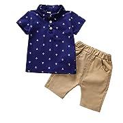 Weixinbuy Little Baby Boy Short Sleeve Lapel Shirt + Shorts Outfit 2 Pcs Clothes Set