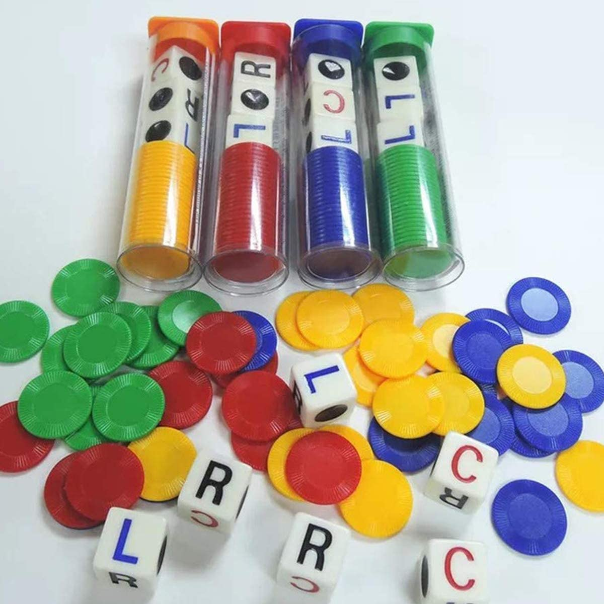 4 Tube Combination Left Center Right Family Party Dice Game Friends Colleagues Party Joy Blue Green Yellow Red 16 mm LCR Dice Game
