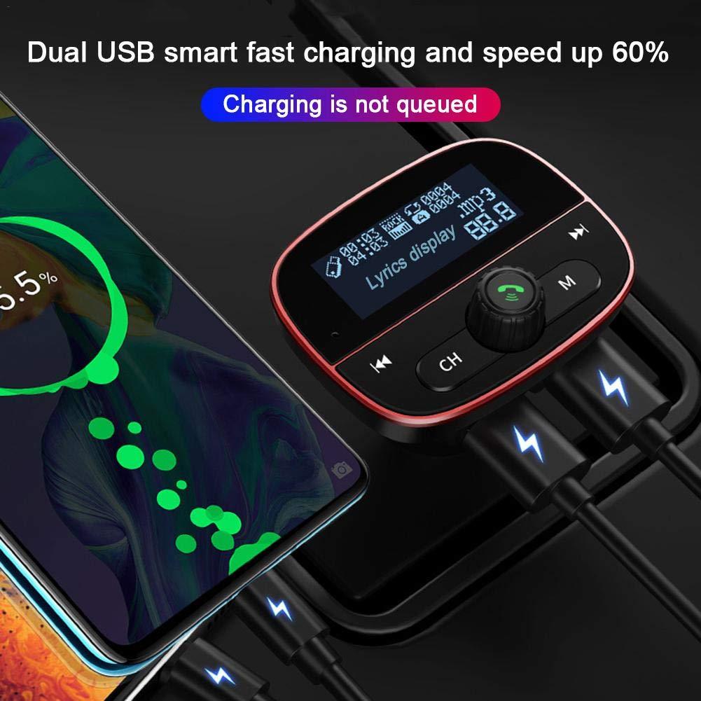 Reproductor Inal/ámbrico MP3 Mechero Coche Adaptador Receptor con Dual USB 3.4A Manos Libres para Coche U Disco Soporte Tarjetas TF arthomer Transmisor FM Bluetooth