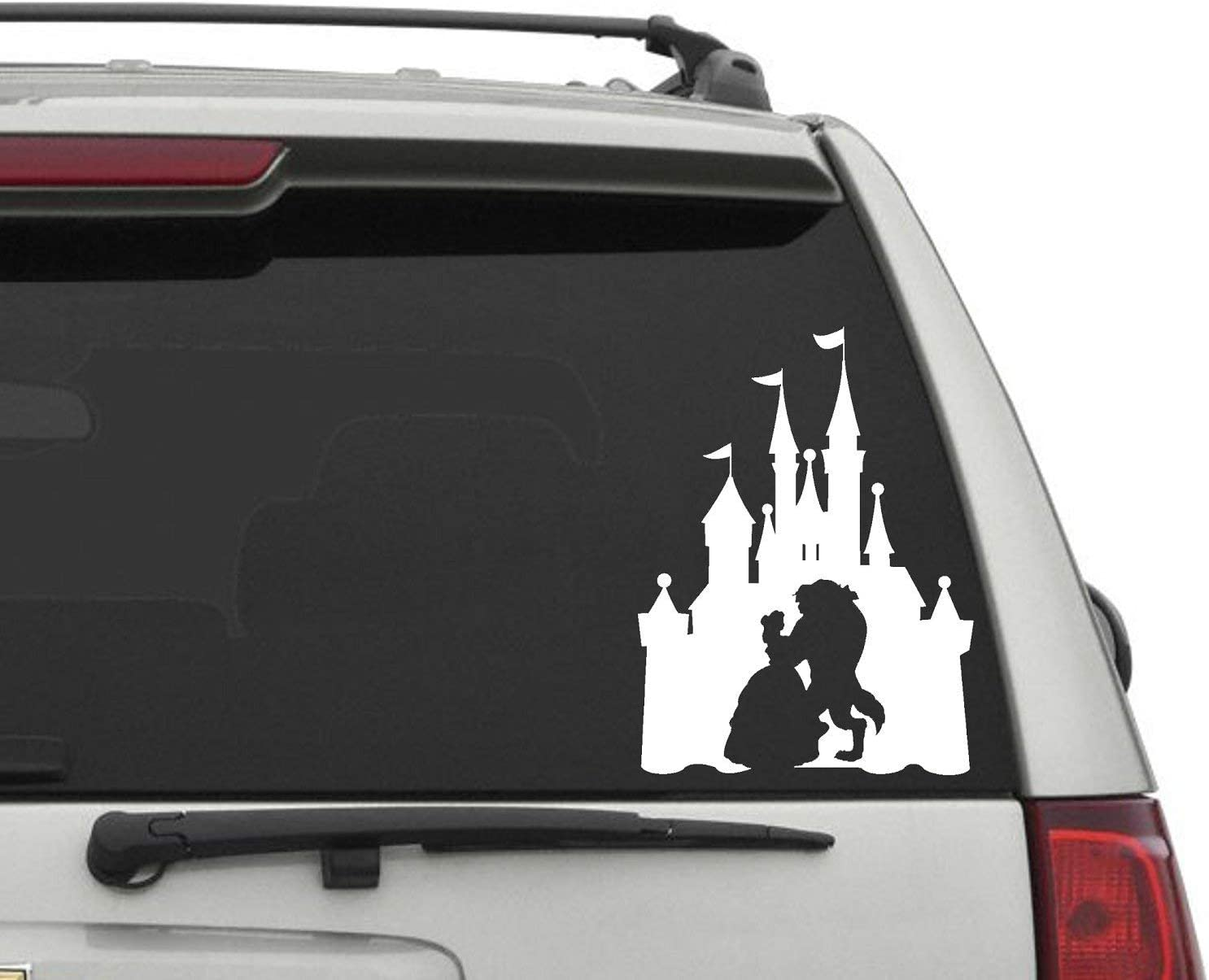 YINGKAI Beauty and The Beast Car Decal Vinyl Wall Decal Sticker Vinyl Lettering Removable Decal for Car Laptop Decoration (White, 10x10 in)