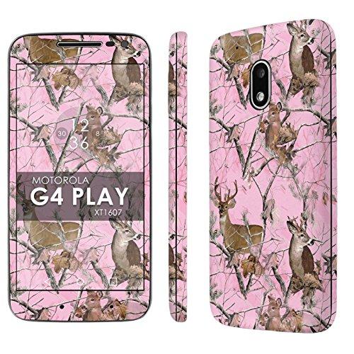 Motorola Moto G Play [4th Gen] Decal Mania Skin Sticker [Matching Wallpaper] - [Pink Deer Camouflage] for Moto [G4 Play] (Camo G Moto Phone Case Cell)