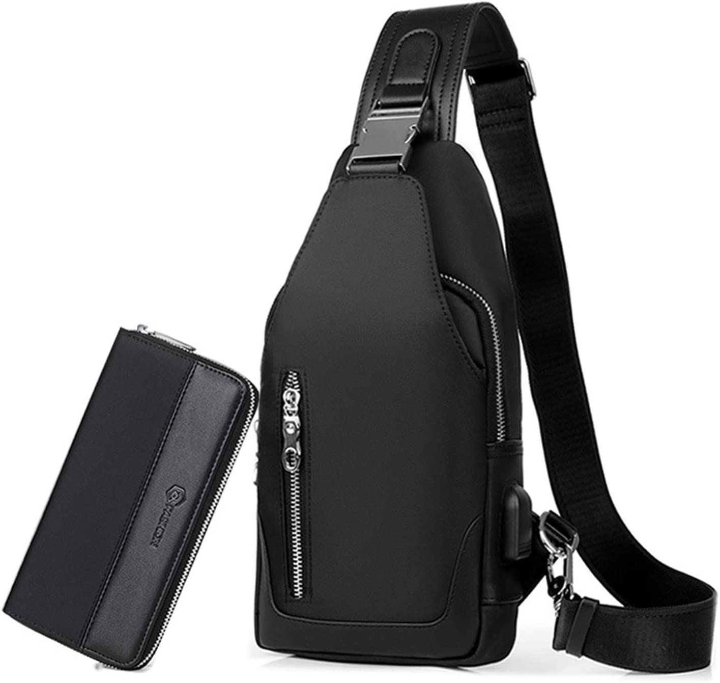 RTGFS Sling Bag Men Chest Pack with Clutch Bag, Crossbody Bag with USB One Strap Backpack for Travel Cycling Camping Hiking Waterproof Polyester Black: Amazon.es: Equipaje
