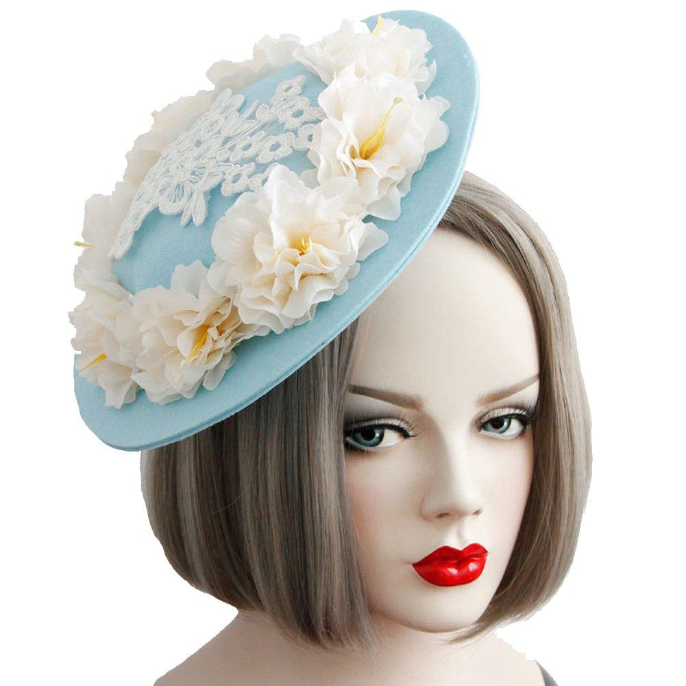 Urchart Women Fascinators Hat Girls Lady Cocktail Wedding Party Veil Hair Clip Headwear 1630