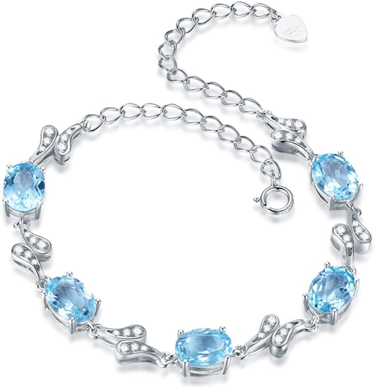 XUQIANG Pulsera Pulsera de Plata Mujer Simple Topacio Natural Piedra Preciosa Azul Cristal Pulsera Novia Joyería de Plata Regalo de cumpleaños Pulsera