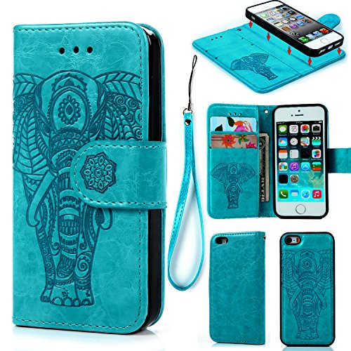 iPhone 5 5S SE Case, iPhone 5 5S SE Wallet Case PU Leather Oil Wax Embossed Elephant Detachable Magnetic Wallet Flip TPU Inner Cover Credit Card Slots for iPhone 5 5s SE Blue