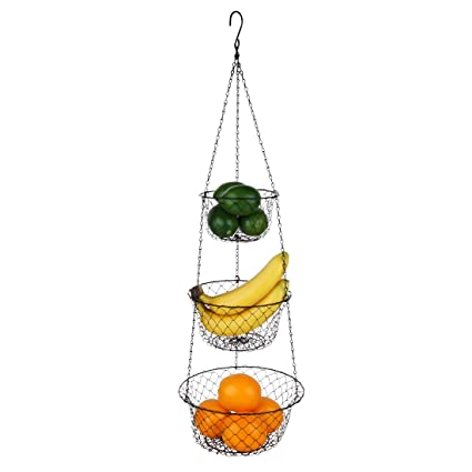 Tai Ying 3 Tier Wire Hanging Fruit Baskets,Vegetable Or Fruit Hanging Basket  Kitchen
