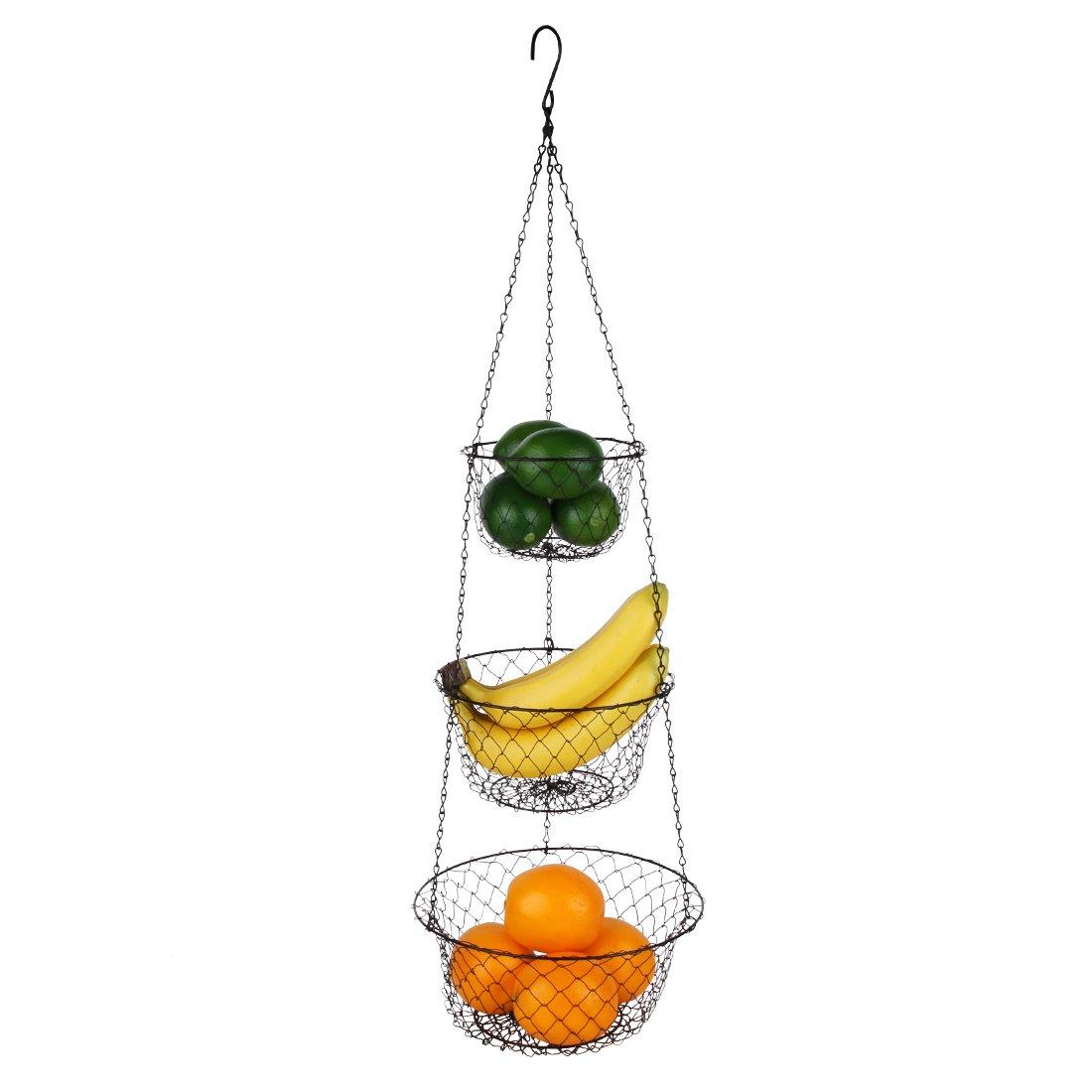 Tai-ying 3 Tier Wire hanging fruit baskets,Vegetable or Fruit hanging basket Kitchen Storage Handmade Basket,Black