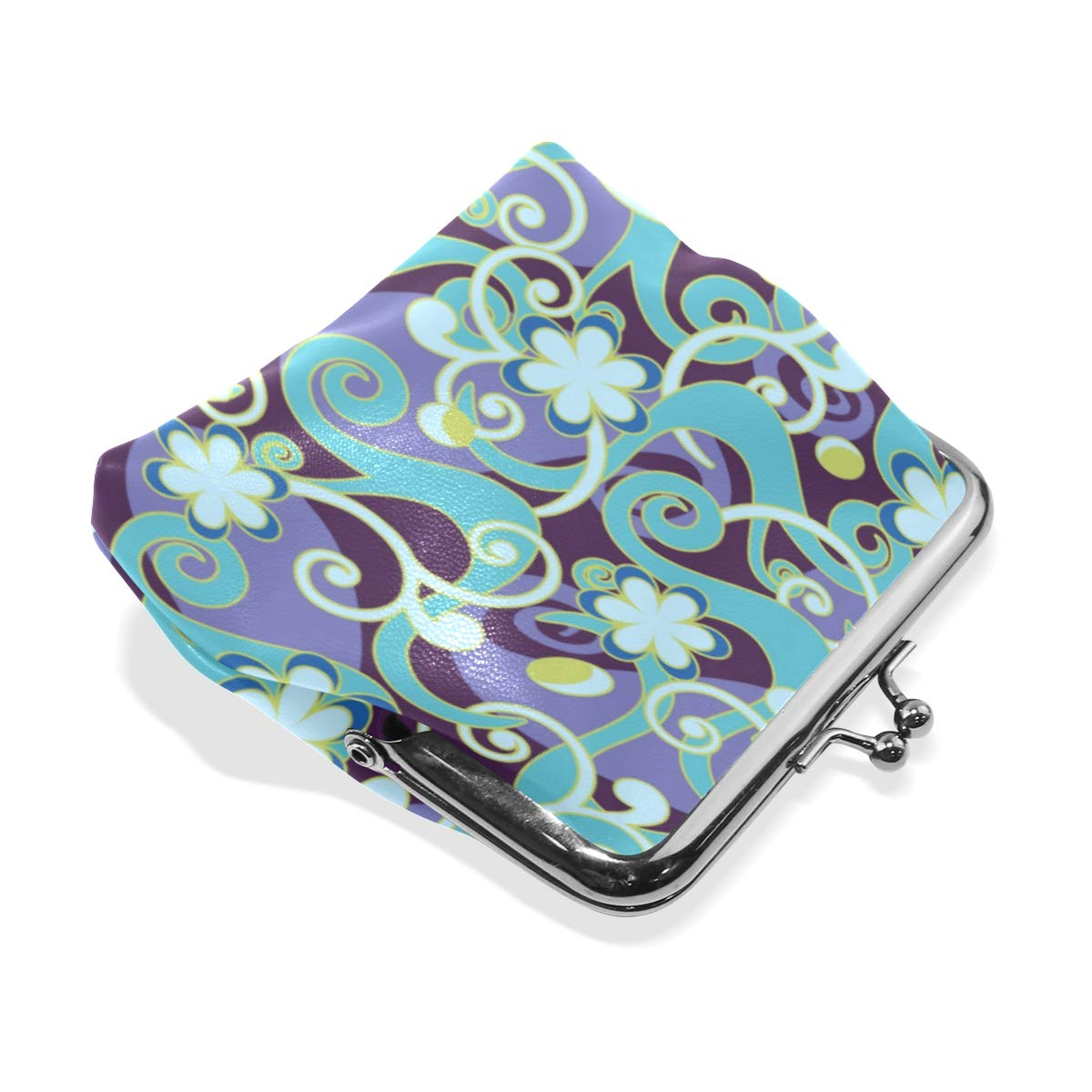 Womens Leather Kiss Lock Double-Sided Magic Colorful Flower Vine Coin Purse Wallets