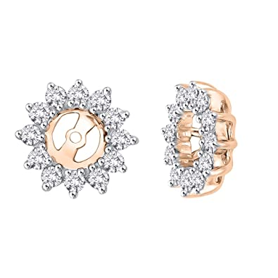 24d115b19 Amazon.com: KATARINA Floral Diamond Earring Jackets in 10K Rose Gold ...