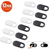 Andiniu 12 pcs Webcam Cover Plastic Laptop Camera Cover Slide for PC,iPhone,iMac,iPad,Protect Your Privacy and Security Digital Sliding Covers(Black/white)