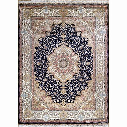 Yilong 9'x12′ Large Handmade Silk Rug Floral Medallion Handwoven Carpet (9 Feet by 12 Feet, Dark Blue and Pink) 0338