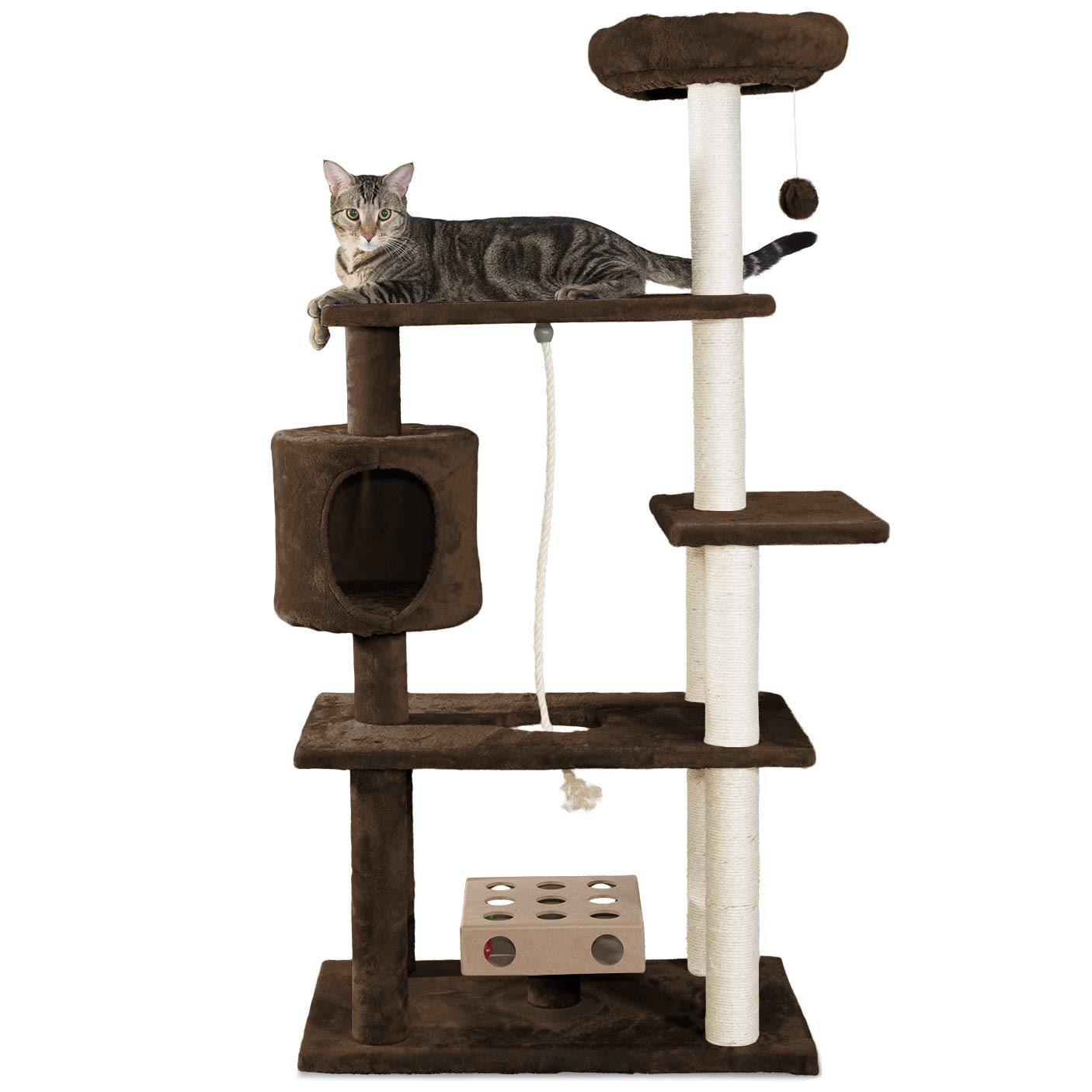 Brown Deluxe Playground Large Brown Deluxe Playground Large Furhaven Pet Products Tiger Tough Brown Deluxe Playground Cat House Furniture Tree, Large