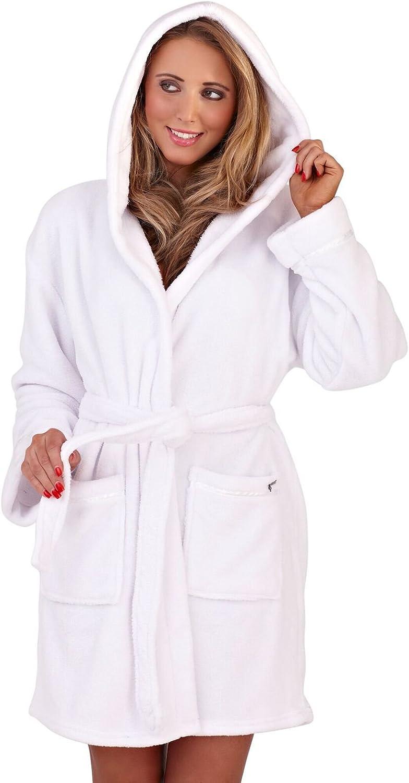 De Lujo para Dama Corel Suave para Acurrucarse Capucha Corto Albornoz Bata Bata con Cinturón Mujer Talla Pequeña - XL