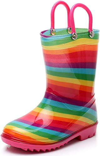 Awesome-experience Kids Rain Boots Girls Boys Children Rainboots Cute Waterproof Light Non-Slip Rubber
