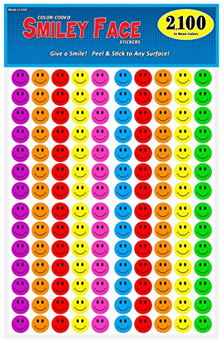 Pack of 2100 Happy Face Smiley Stickers, 3/4