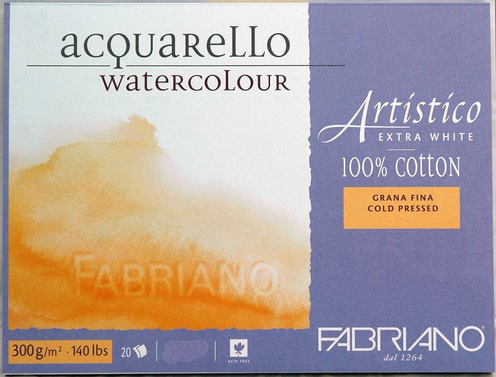 Fabriano Artistico 140 lb. Cold Press 20 Sheet Block 9x12'' - Extra White