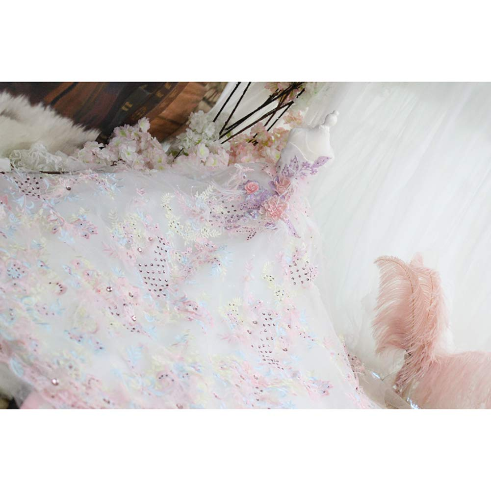 Medium Dog Evening Dress,Puppy Dog Princess Dresses Three-Dimensional Embroidery Printing Decoration Extra Long Tail Suitable Wedding Photo Festival Party,M