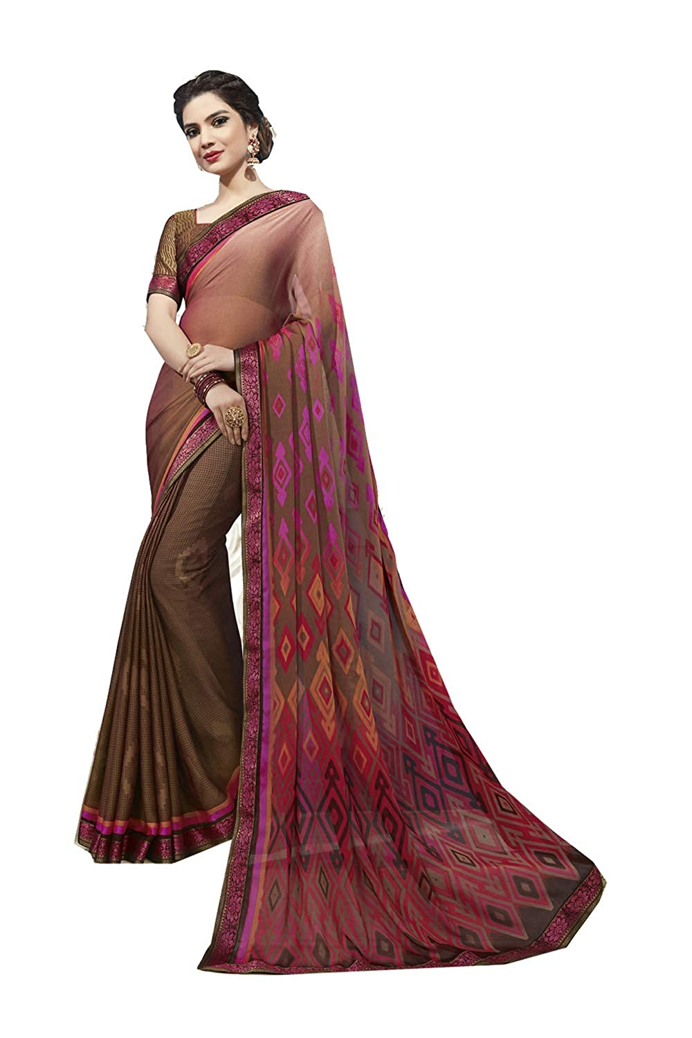 Brown 9 Indian Women Designer Party Wear Ethnic Traditional Saree.