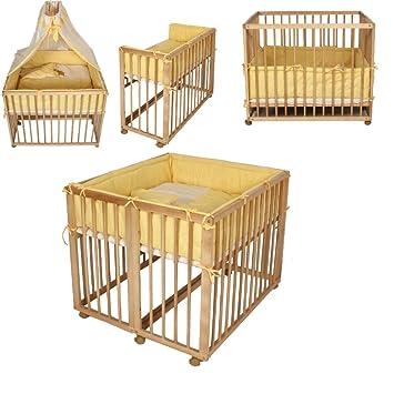 Lit d\'appoint Lit double Parc bébé pour jumeaux 2en1 jaune: Amazon ...