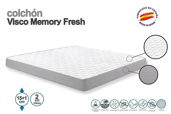 SUENOSZZZ-ESPECIALISTAS DEL DESCANSO SUENOSZZZ - Colchón Viscoelástico Memory Fresh. 150x190x15+1 cms. Strech Memory Form.: Amazon.es: Hogar