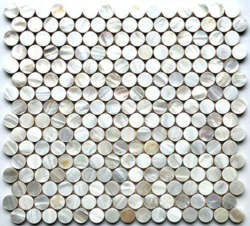 (Squarefeet Depot Genuine Mother of Pearl Penny Round Mosaic Wall Tile )
