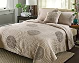 Quilt Sets King Size by YaYi, 100% Cotton Solid Handmade 3D Floral Quilted Bedspread with Shams, Modern Coverlet for Autumn & Winter Dark Grey