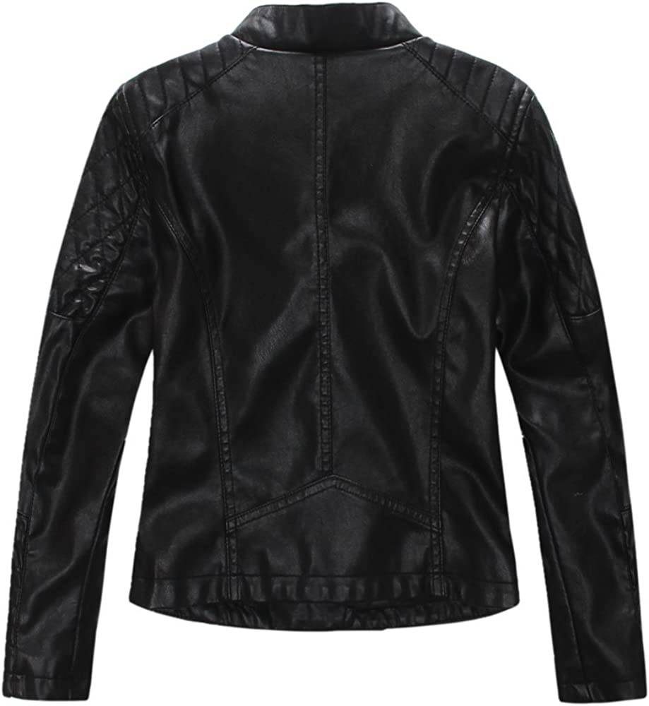 LJYH Spring Girls Motorcycle Jacket Childrens Leather Coat