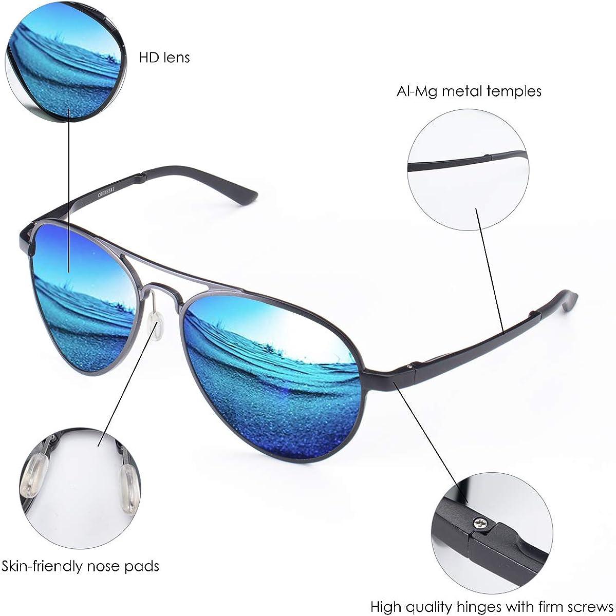 CHEREEKI Gafas de sol Hombre polarizadas Gafas de Sol Aviador Hombres Mujeres Protecci/ón UV400 para Conducci/ón Verano Deportes Moda Gafas de sol