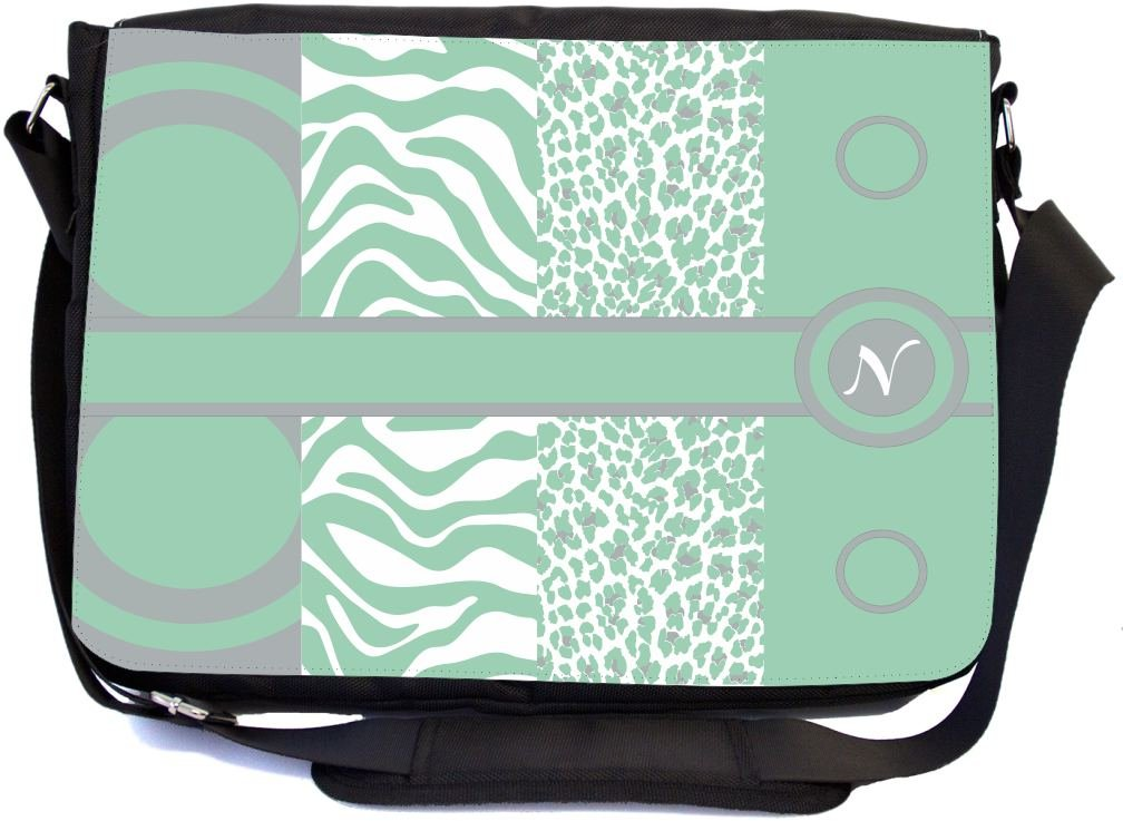 Messenger School Bag Rikki Knight N Initial Mint Green mbcp-cond43128 Leopard Zebra Design