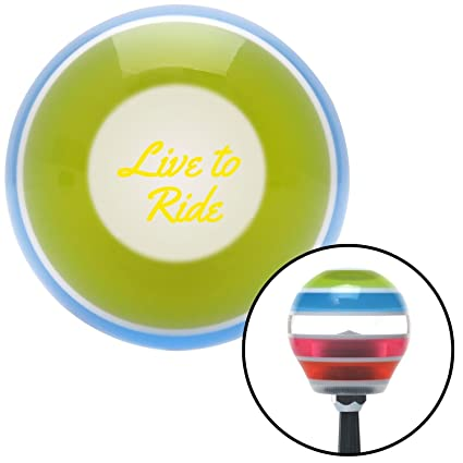 American Shifter 272655 Yellow Live to Ride Stripe Shift Knob with M16 x 1.5 Insert