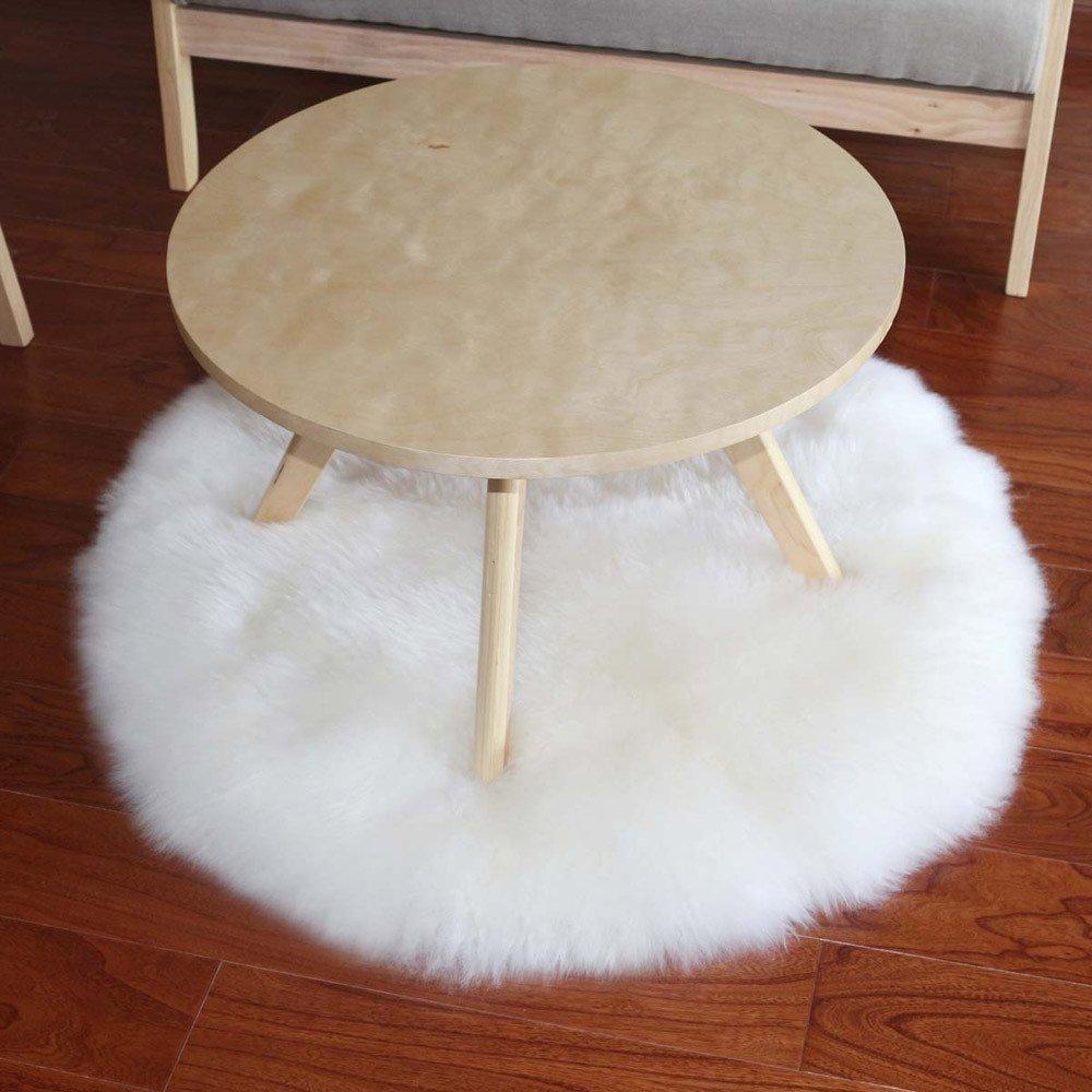 Round Gray Cumay Kunstfell Pelz Stil Teppich Faux Fleece flauschig Bereich Teppiche Anti-Rutsch Yoga Teppich f/ür Wohnzimmer Schlafzimmer Sofa Boden Teppiche Rund Grau, 45x45cm