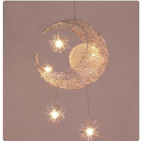 LONFENNER Lámpara colgante creativa Luna y estrellas y de ...