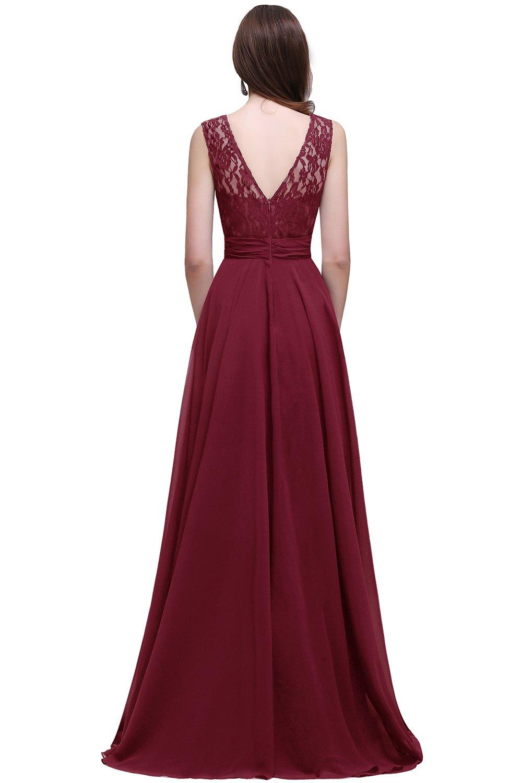 de8876f26e ... MisShow/MisShow Burgundy Lace Bridesmaid Dresses Long Chiffon Prom  Evening Dress,6. ; 