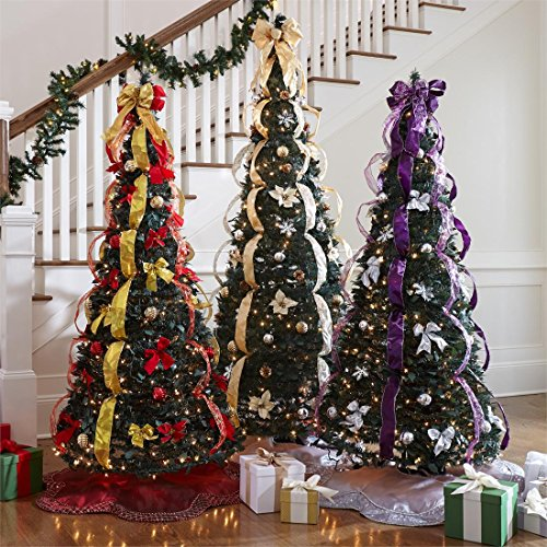 amazoncom brylanehome 712 deluxe pop up christmas tree silver gold0 home kitchen - Decorating A Pencil Christmas Tree